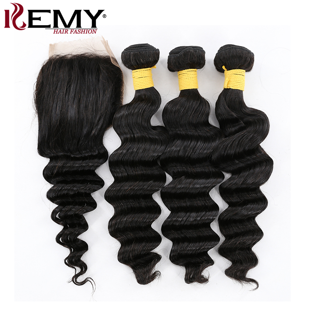 KEMY HAIR Pre-Colored Deep Wave With  4*4 Closure Free Part Natural Color Brazilian Weft 3 Bundles Remy Human Hair Weave