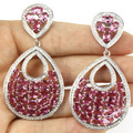 Largo Grande Turmalina Rosa, blanco CZ Wedding Party SheCrown Creado Pendientes de Plata 61x31mm