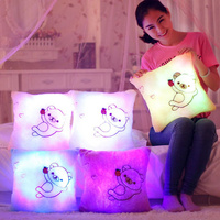35x35 CM Oso Led Up Almohada de Felpa Juguetes de Peluche Muñecas para Niños Suave Lindo Cojín De Navidad Luminoso regalo de Cumpleaños Presente