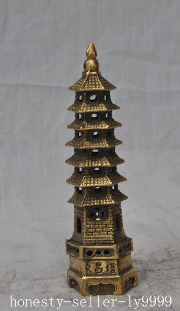 Chinese Tibetan Religion Buddhism bronze brass Buddha Tower stupa pagoda statue Garden Decoration 100% real Brass Bronze