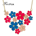 FANHUA Fashion Accessories New Style Candy Color Enamel Big Flower Design Pendant Necklace For Women