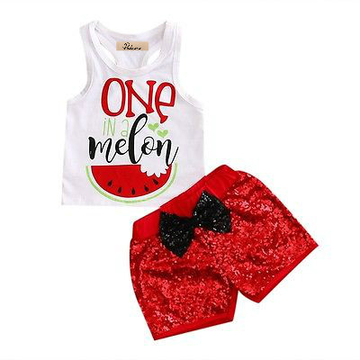 Baby 2PCS Cotton Tank Tops Sequins shorts Sets Clothes Summer Toddler Kids Baby Girl Print Tops Red Shorts Outfit Set Clothing