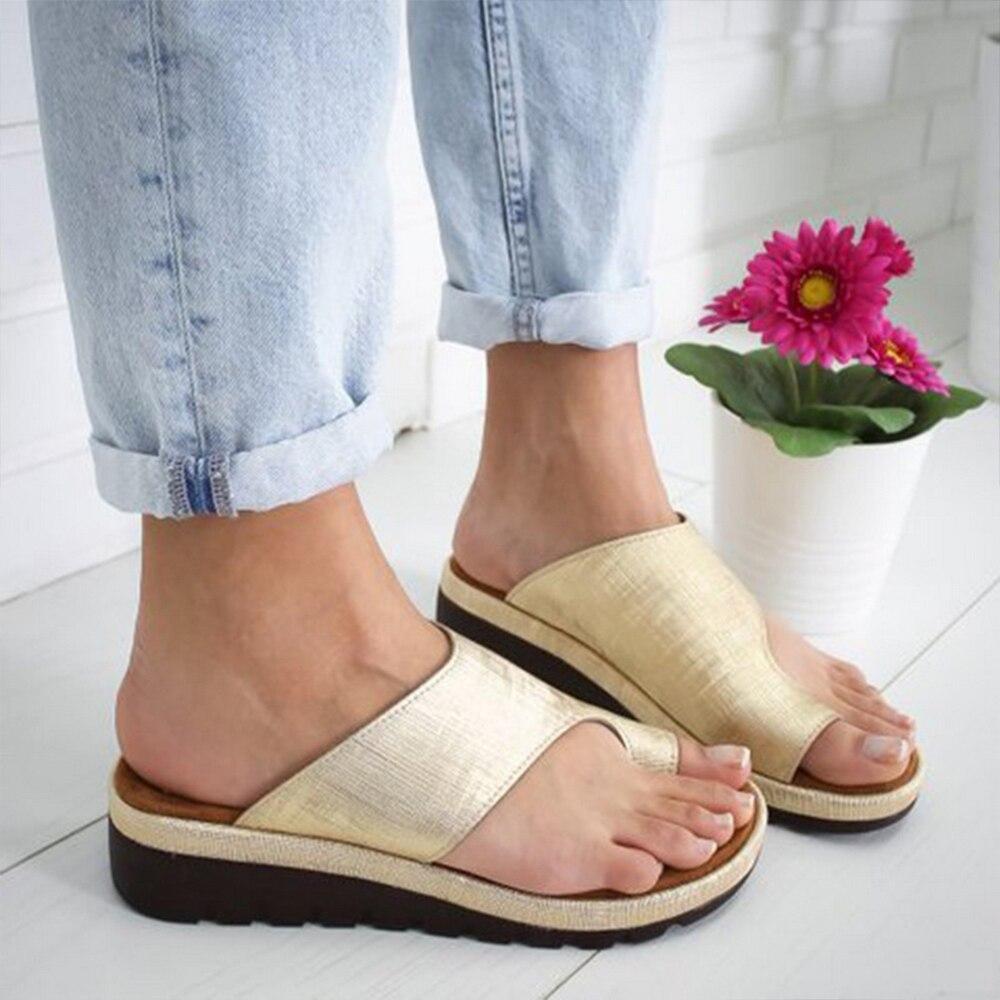 HTB1jZ4AXLWG3KVjSZPcq6zkbXXaB Puimentiua Women slippers Flat Sole Casual Soft Big Toe Foot Sandal Women Shoes Comfy Platform Orthopedic Bunion Corrector
