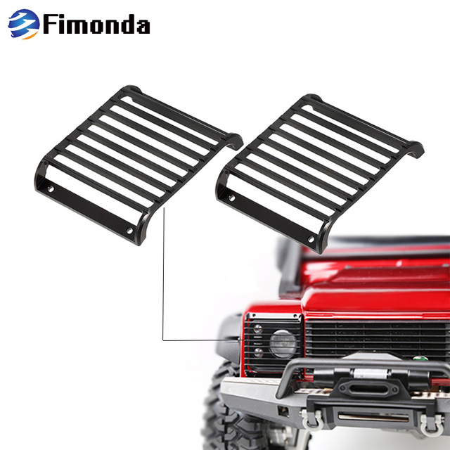 2Pcs TRX4 Metal Front Lamp Guards Headlight Cover Guard Grille for 1/10 RC Crawler Car Traxxas TRX-4 Upgrade Parts