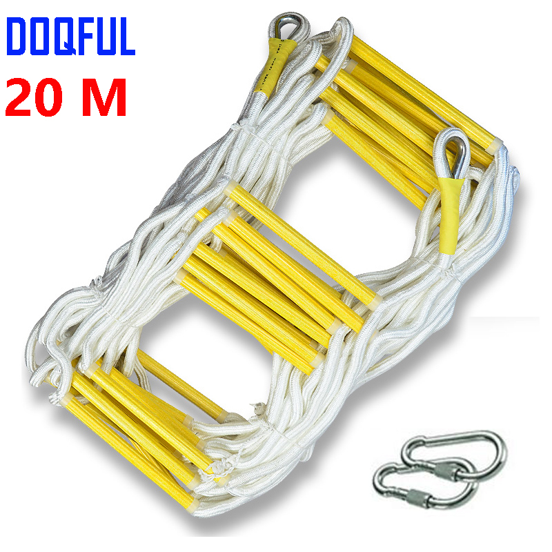 все цены на 20M Rescue Rope Ladder 66FT Escape Ladder Emergency Work Safety Response Fire Rescue Rock Climbing Escape Tree онлайн