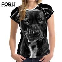 FORUDESIGNS Mollosser Fierce Dog Prints Women T Shirt Female T Shirts Harajuku Black Slim Summer Basic
