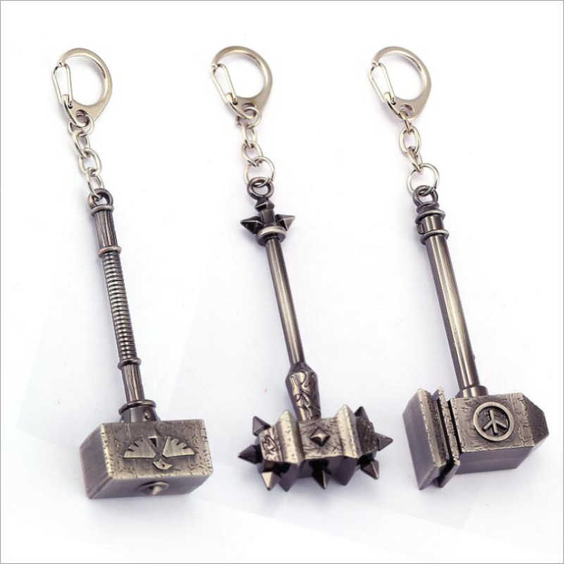 Hot Sale Cosplay Game Gantungan Kunci Hammer Gantungan Kunci World Of Warcraft WOW Aksesori Senjata Model Kunci Mobil Porte Clef Hadiah 12 Cm