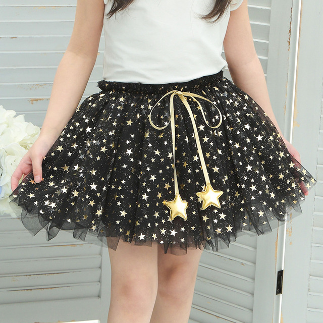 kids skirts girls summer 2017 ballet skirt for children Gauze Tutu Skirt Silver Star  4-10 year black