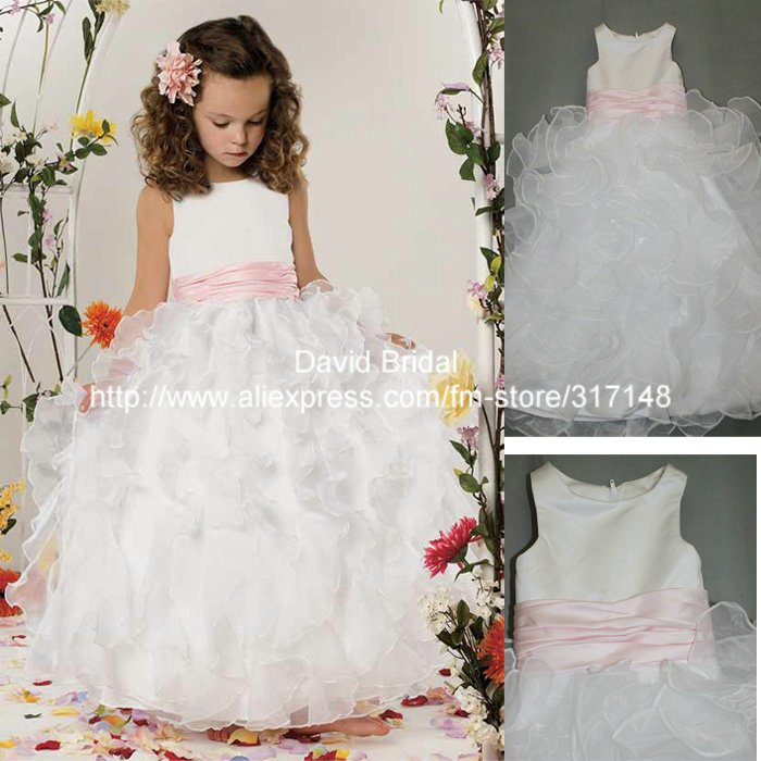 797309fab63 Real Photo E112 Ruffled Organza Ball Gown Pink and White Flower Girl Dress  for Weddings-in Flower Girl Dresses from Weddings   Events on  Aliexpress.com ...
