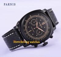 44mm Parnis black dial PVD coated Chronograph mens quartz wrist watch