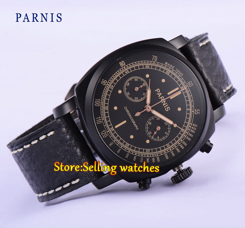 44mm Parnis black dial PVD coated Chronograph mens quartz wrist watch все цены