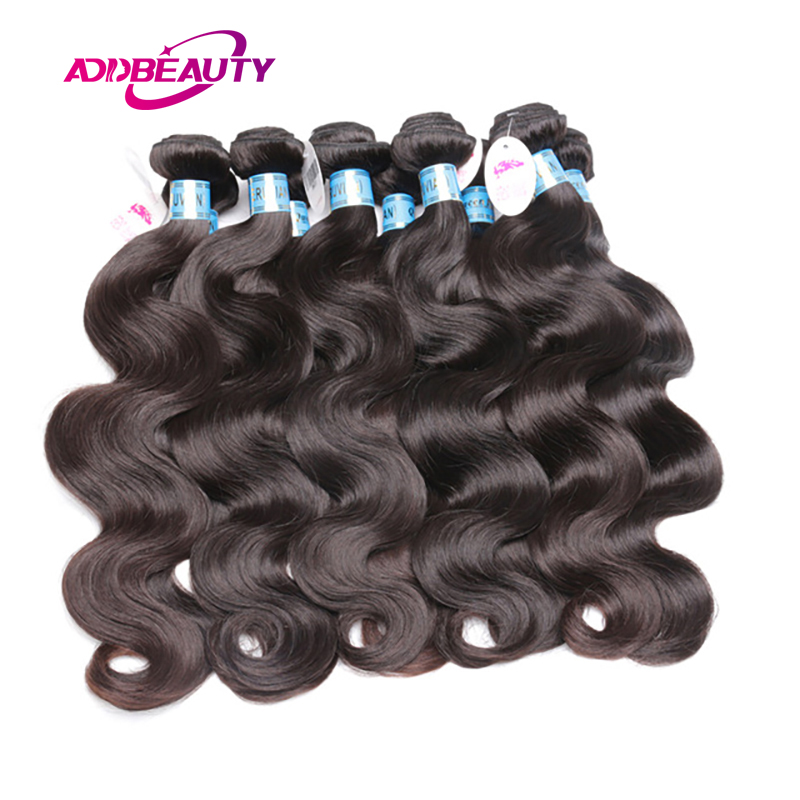 Addbeauty 10Pcs Lot Body Wave Peruvian 100% Human Virgin Hair Extension Bundle Weave Natural Color Can Colored 613 Free Shipping