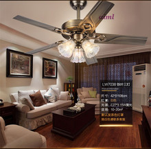 Fan lamp restaurant fan living room European style retro minimalist home lamp.