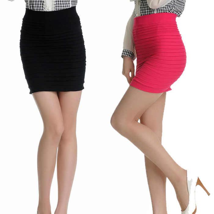 Américain femme Sexy jupe 1PC mode femmes élastique plissé taille haute paquet hanche jupe courte livraison gratuite # G