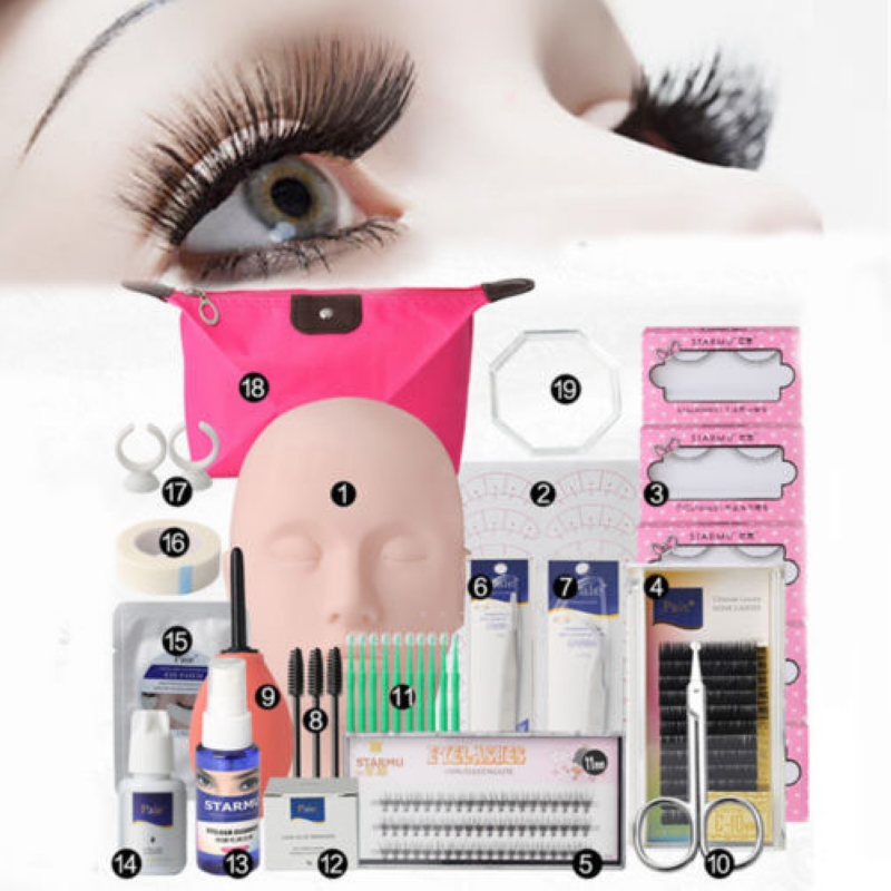 19in1 Shellhard Mannequin Makeup Fake Eyelashes Extension Practice Kits Tool for Trainning shellhard 19pcs set mannequin makeup training kit high quality fake eyelashes extension practice kits tool