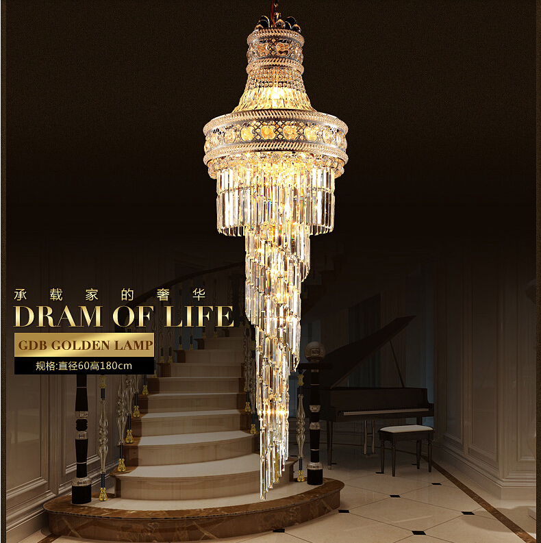 2017 big crystal chandelier LED candle holder lamps modern long large chandeliers villa living room hanging Light Free Shipping modern crystal chandelier led hanging lighting european style glass chandeliers light for living dining room restaurant decor