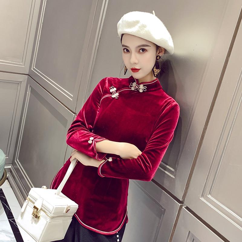 Automne hiver velours chaud Tang hauts bordeaux femmes à manches longues chemise traditionnelle à la main bouton Blouse Costume de Style chinois