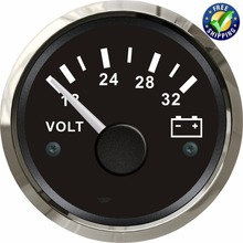 Pack of 1 18-32v Pointer Type Voltmeters 24v Volt Meters 52mm Voltage Gauges for Auto Truck RV Boat Yacht