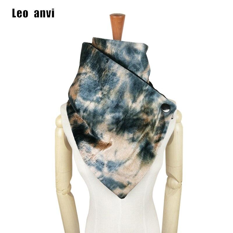 Leo anvi gradiente tie dye rainbow cachecol mulheres acessórios de moda Botão neck warmer baixada laço lenço lenço do inverno lenços infinito