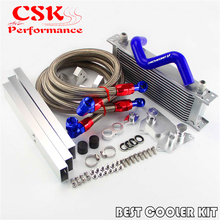 Fits For VW Golf MK7 GTI AN10 13 Row Oil Cooler Full Kit For Engine EA-888 III Black/Silver 16 row an10 racing engine oil cooler kit fits for 01 05 subaru impreza wrx sti silver black