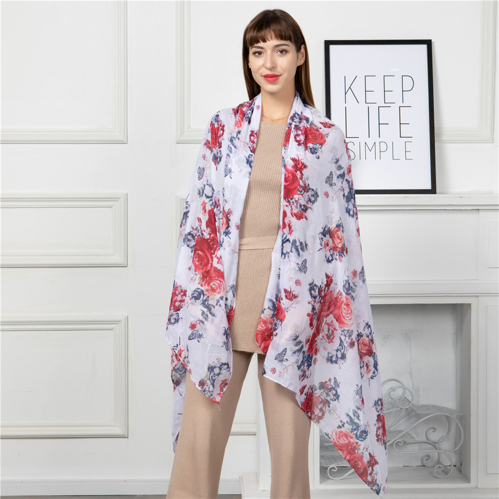 Jinjin QC New Women Scarf Viscose Material Floral RedBlue Petals Details Pattern Casual Scarves 180x90cm All Seasons Lightwear in Women 39 s Scarves from Apparel Accessories