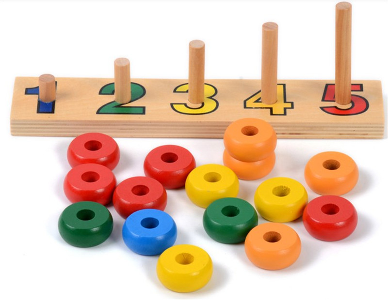 New Wooden Toy Baby Toy Montessori Counting Disks Stacking