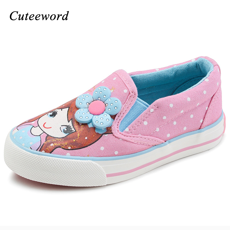 Girls shoes for school children canvas shoes fashion brand kids breathable shoes cartoon printing girls casual sport shoe flats
