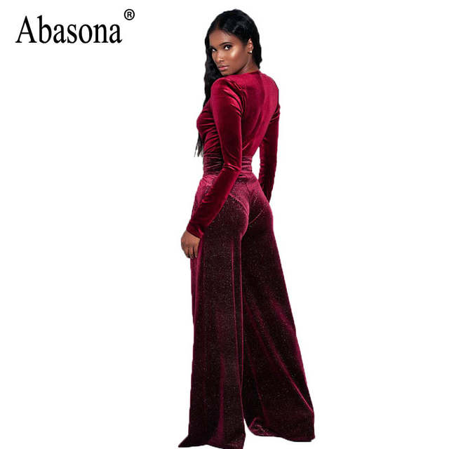 c06feb9053b35 US $26.13 |Abasona Velvet Jumpsuits Women Long Sleeve Overalls Sexy Deep v  Neck Rompers Womens Jumpsuit Party Club Female Wide Leg Pants-in Jumpsuits  ...