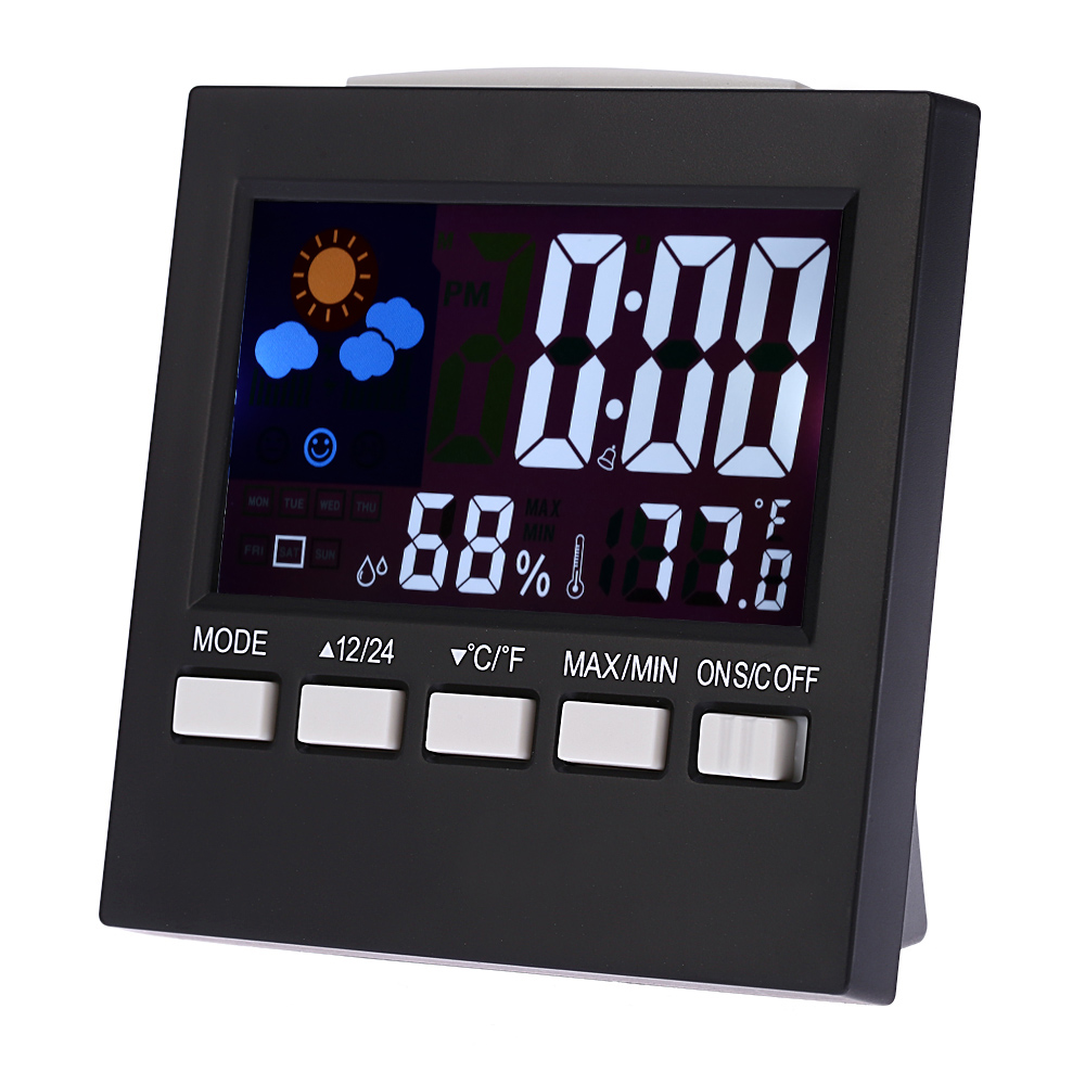 Digital Thermometer Hygrometer temperature humidity clock Colorful LCD Alarm Snooze Function Calendar Weather station Display voice control backlight hygrometer thermometer alarm clock with lcd display