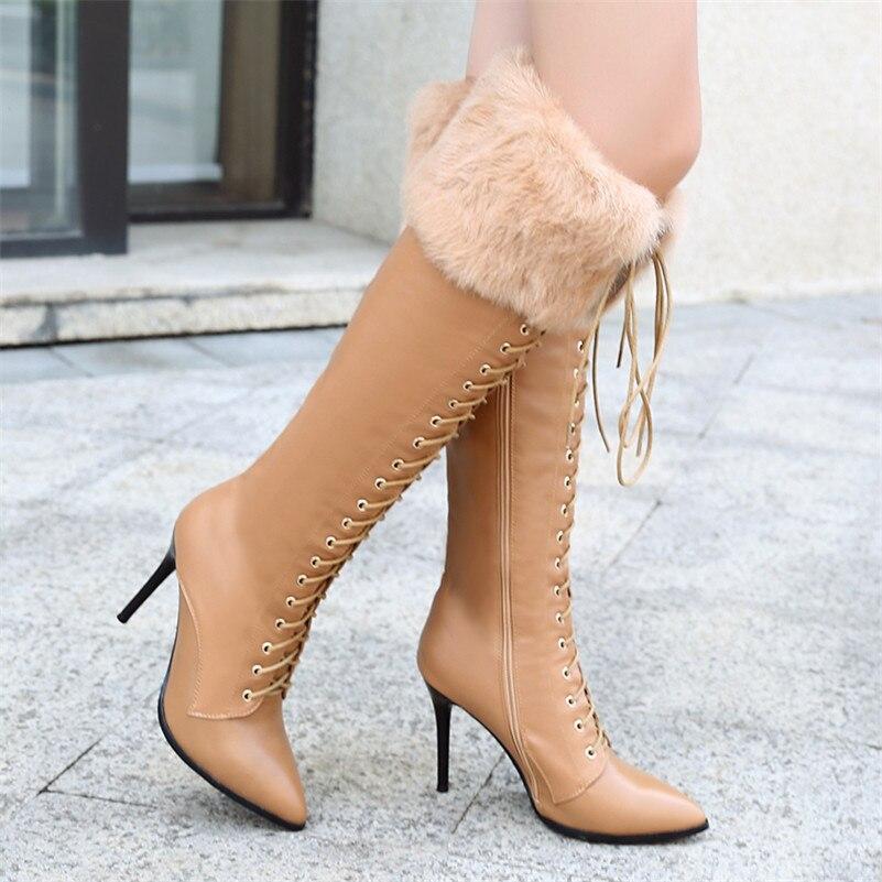 Corss Mode De Mariage Chaussures Bout Femme attaché Bottes Neige Sexy Hautes Pointu noir Fedonas Talons 1 Longue Marque Hauts Parti Chaud OE76fd