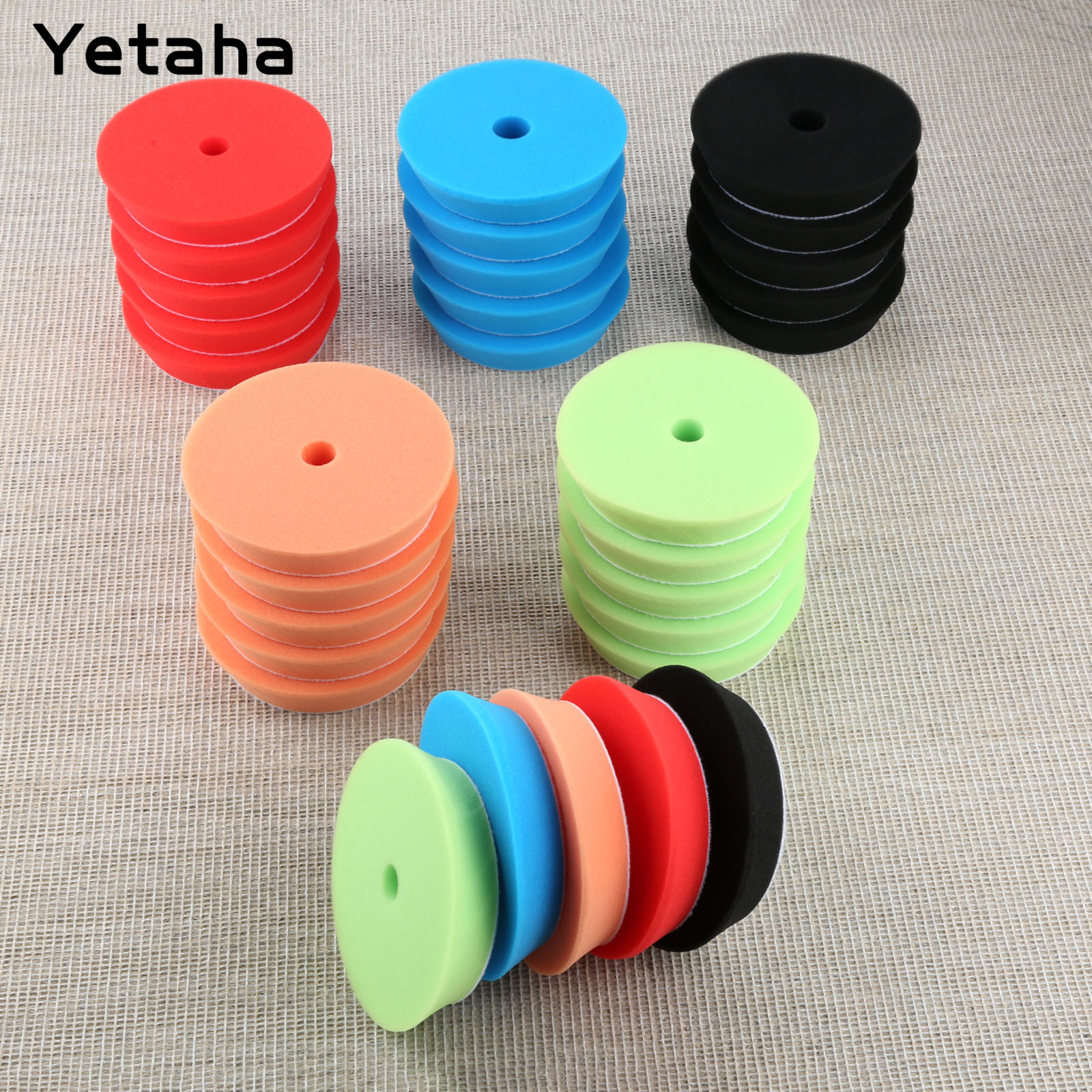 Yetaha 5Pcs 6inch 150mm Car Polishing Buffing Sponge Pads Set Car Wash For Car Polisher Cleaning Detailing Polishing Tool-in Sponges, Cloths & Brushes from Automobiles & Motorcycles