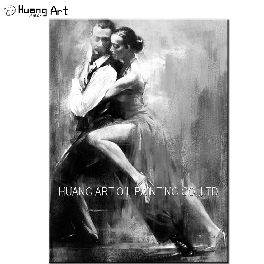 Top Artist Pure Hand-painted High Quality Impression Black And White Tango Oil Painting on Canvas Lover Dancer Oil Painting