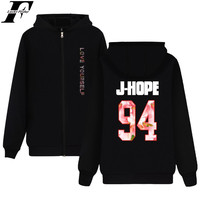LUCKYFRIDAYF BTS Hoodie Sweatshirt Zipper BTS Jacket Unisex Couple Hip Hop Kpop Warm New Ablum LOVE