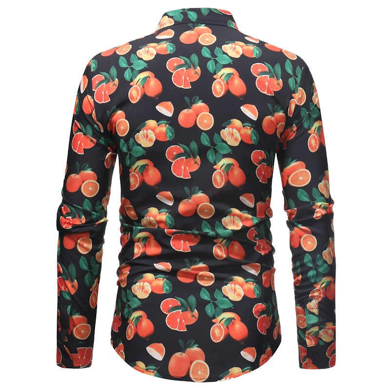 Мужская приталенная рубашка с длинными рукавами 2018, модная рубашка с фруктовым принтом, мужские весенне-осенние повседневные брендовые рубашки для деловых людей XXXL