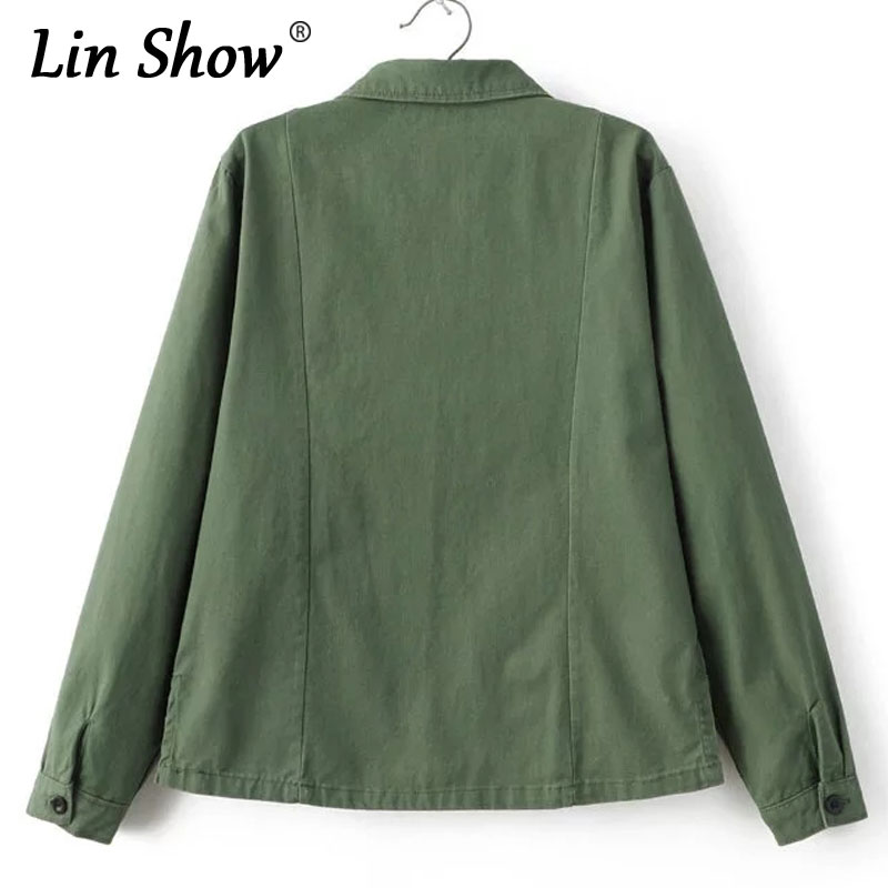 c1619975b93 LINSHOW Fashion Lapel Military Autumn Ladies Jackets Army Green Letter  Patches Women Bomber Jackets Pockets Button Outwear Coats-in Basic Jackets  from ...