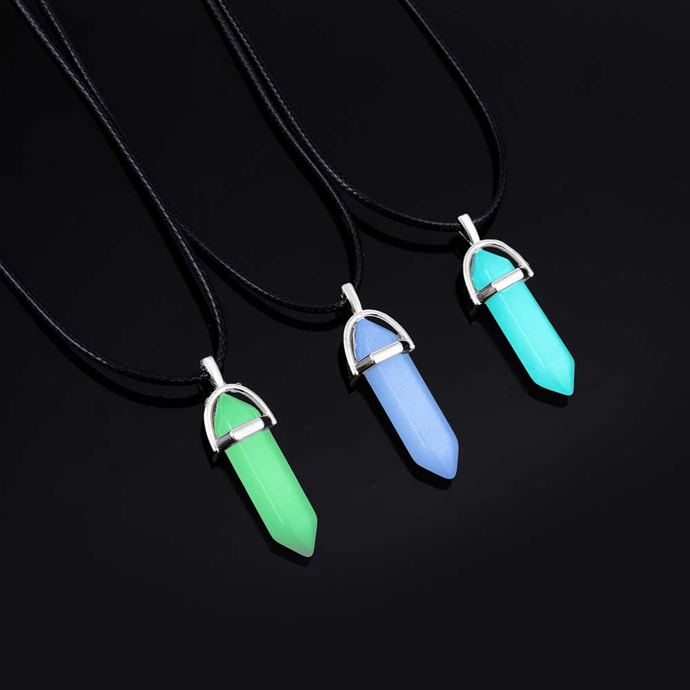 AILEND 18 New Luminous Stone Fluorescent Hexagonal Column Necklace Natural Crystal Gem Stone Pendant Leather Chains Necklace 3
