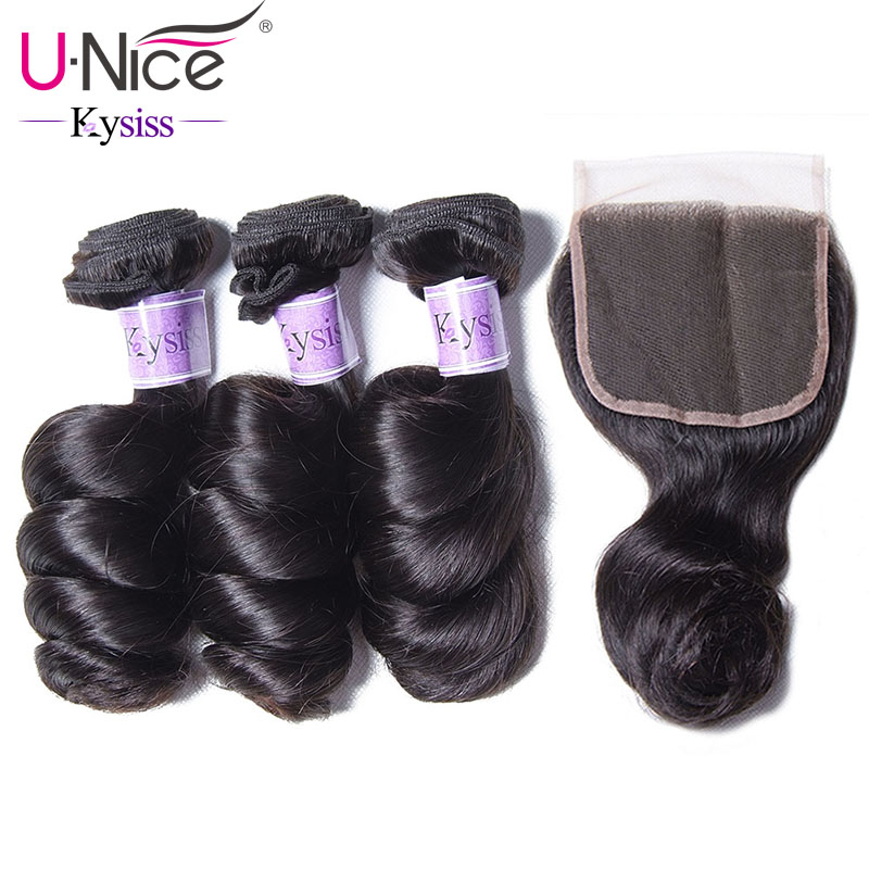 UNice Hair Kysiss Series 8A Loose Wave Peruvian Virgin Hair With Lace Closure Free Part 100