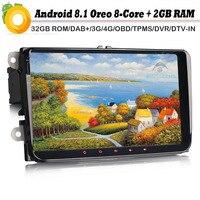 Восьмиядерный Android 8,0 Авторадио Автомагнитола плеер для VW Passat CC поло T5 DAB + Мультимедиа SatNav Wi Fi 4 г gps DVR SD OBD2 DVT IN