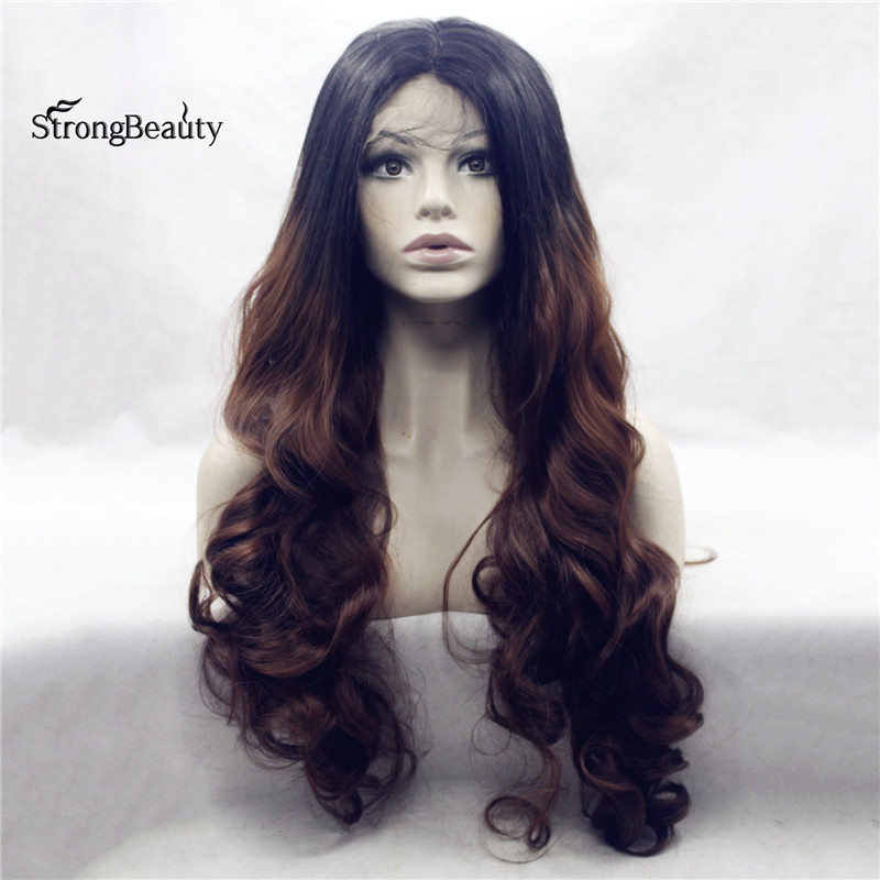 Strongbeauty Long Curly Blak Brown Wig Synthetic Ombre Black to Auburn Lace Front Two Tone Wig for Black Women
