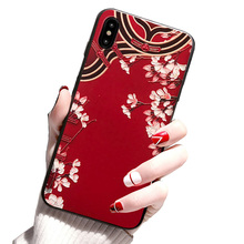 Applicable to iphone 6 7 8 Forbidden City Retro Pattern Phoenix Robe Painted Soft Shell TPU Cover X XS XR MAX