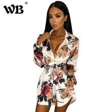 Floral Print Blouse Dresses Autumn Turn Down Collar Button Long Sleeve Shirt Dress Women Casual Loose