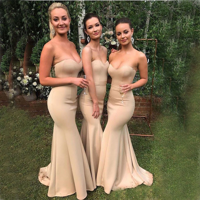 New Hot Sale Simple Champagne   Bridesmaid     Dresses   Sweetheart Mermaid Style Satin Maid Of Honor Country Wedding Party Gowns Long