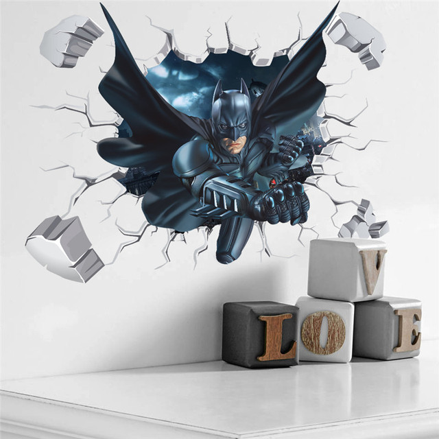 Cartoon Boy's Hero Batman Spiderman Wall Sticker For Kids Rooms Home Decor Wall Art 3D Effect Broken Wall Decal Gift Poster