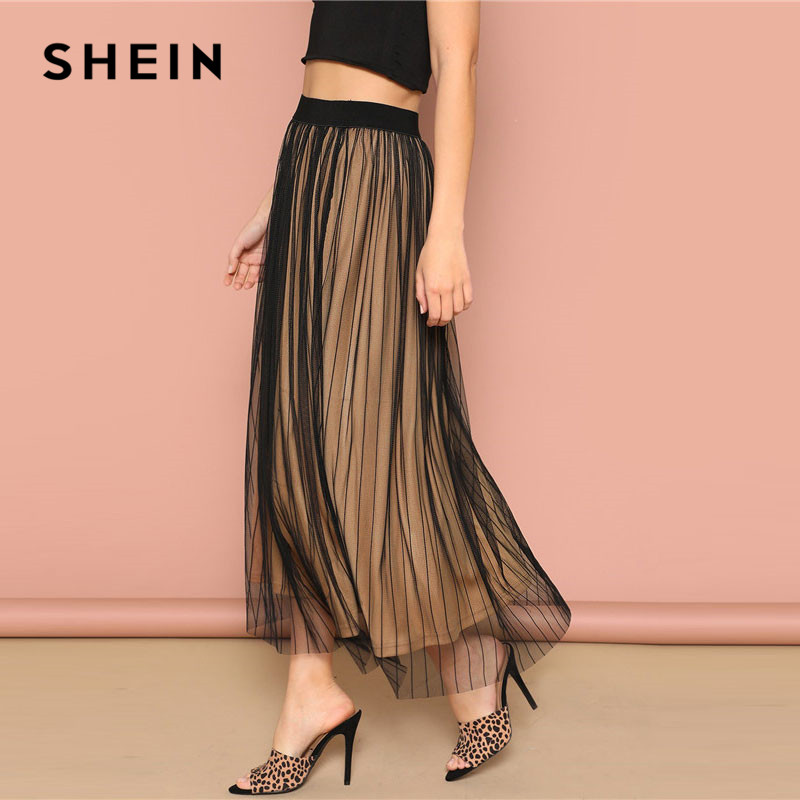 Image 4 - SHEIN Black Elastic Waist Striped Mesh Overlay Mid Waist Solid Maxi Skirt Lady Spring Casual A Line Sheer Pleated Midi Skirt-in Skirts from Women's Clothing
