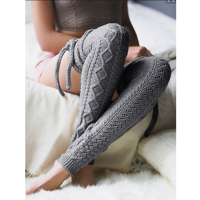 8cd80830e13 Women Knitted Woolen Stockings Leg Warmers Winter Spring Warm Bandage  Hollow Out Long Stocking Thigh High Over Knee Socks Meias