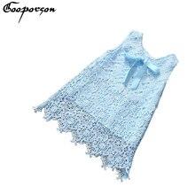 Filles Robe En Dentelle Élégant Ciel Bleu Parti Princesse robe pour Enfants Fille D'été Vêtements Bébé Fille Robe Arc Drop Shipping