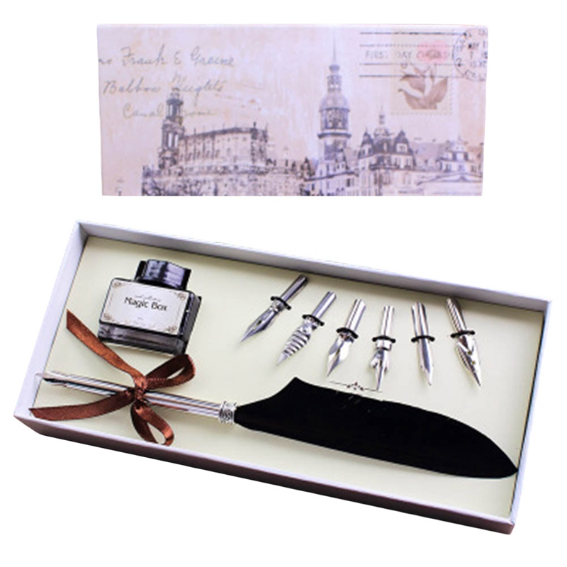 High  Quality Vintage Antique Quill Feather Dip Pen Writing Ink Set  Box With 6 Nib Wedding Gift Quill Pen Fountain Pen excellent antique quill feather dip pen writing ink set stationery gift box with 5 nib wedding gift quill pen fountain pen