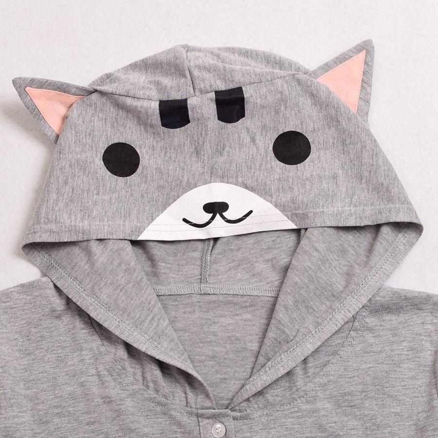 Cat Pattern Ears Hooded Shirt (1)