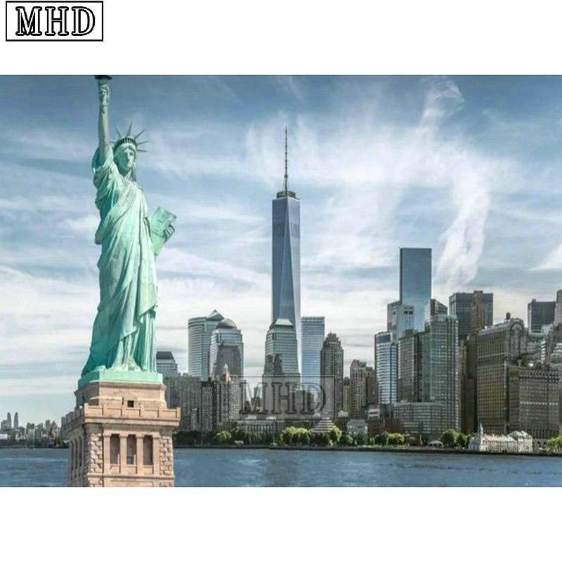 Полностью квадратная дрель 5d diy Алмазная картина Нью-Йорк пейзаж 3d Алмазная мозаика Богиня Свободы икона ручной работы