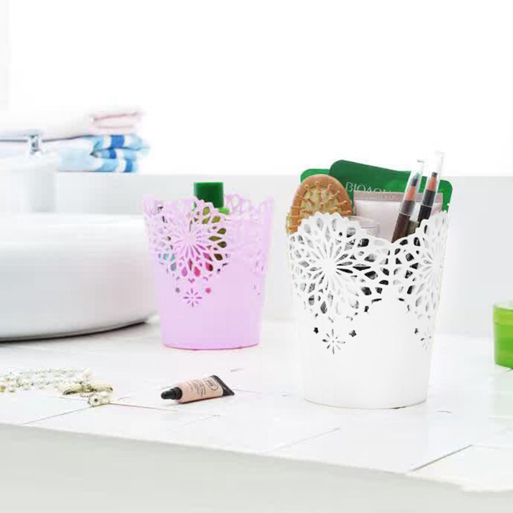 Pastoral Style Hollow Flower Brush Storage Pen Pencil Pot Holder Container Desk Organizer Gift Makeup Brush Holder